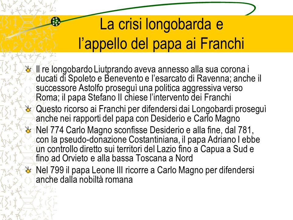 La crisi longobarda e lappello del papa ai Franchi Il re longobardo Liutprando aveva annesso alla sua corona i ducati di Spoleto e Benevento e lesarca