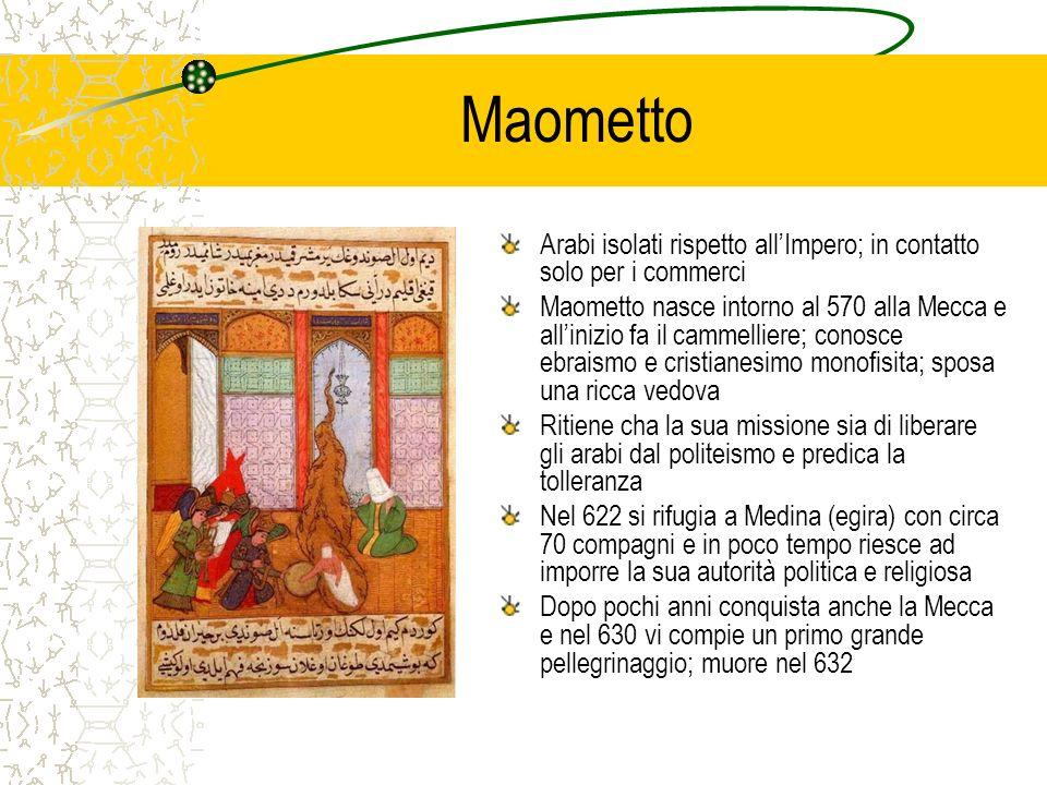 Maometto Arabi isolati rispetto allImpero; in contatto solo per i commerci Maometto nasce intorno al 570 alla Mecca e allinizio fa il cammelliere; con