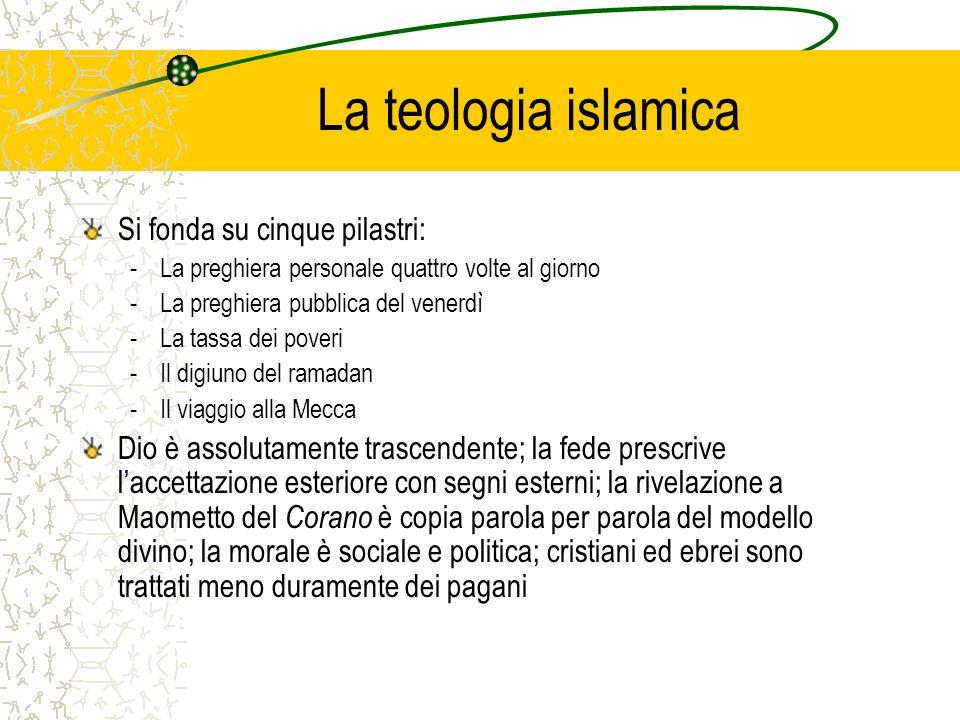 La teologia islamica Si fonda su cinque pilastri: -La preghiera personale quattro volte al giorno -La preghiera pubblica del venerdì -La tassa dei pov