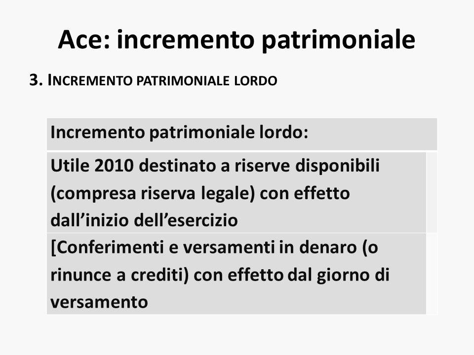 Ace: incremento patrimoniale 3. I NCREMENTO PATRIMONIALE LORDO Incremento patrimoniale lordo: Utile 2010 destinato a riserve disponibili (compresa ris
