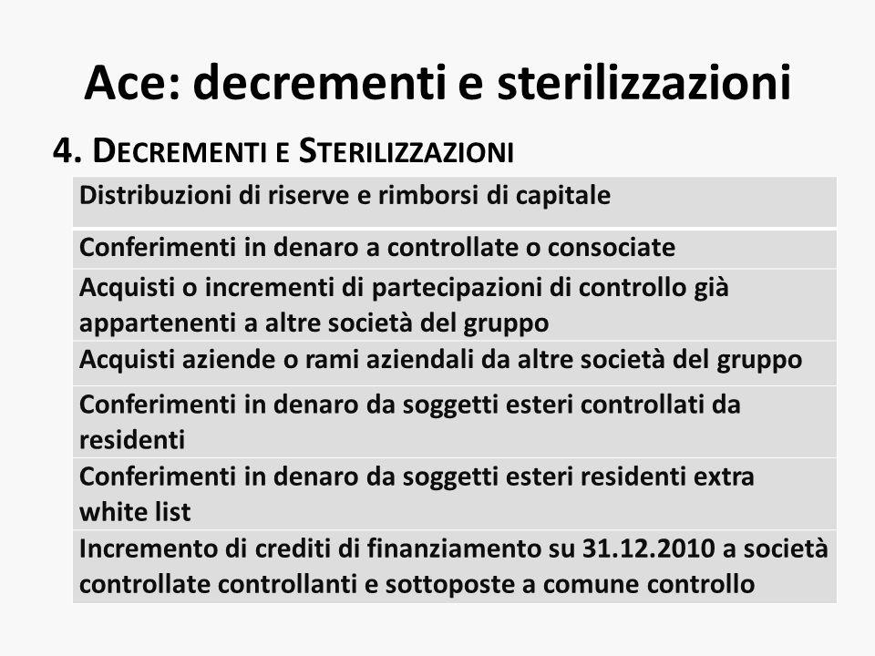 Ace: decrementi e sterilizzazioni 4. D ECREMENTI E S TERILIZZAZIONI Distribuzioni di riserve e rimborsi di capitale Conferimenti in denaro a controlla