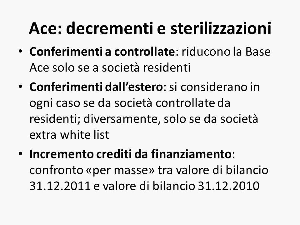Ace: decrementi e sterilizzazioni Conferimenti a controllate: riducono la Base Ace solo se a società residenti Conferimenti dallestero: si considerano in ogni caso se da società controllate da residenti; diversamente, solo se da società extra white list Incremento crediti da finanziamento: confronto «per masse» tra valore di bilancio 31.12.2011 e valore di bilancio 31.12.2010