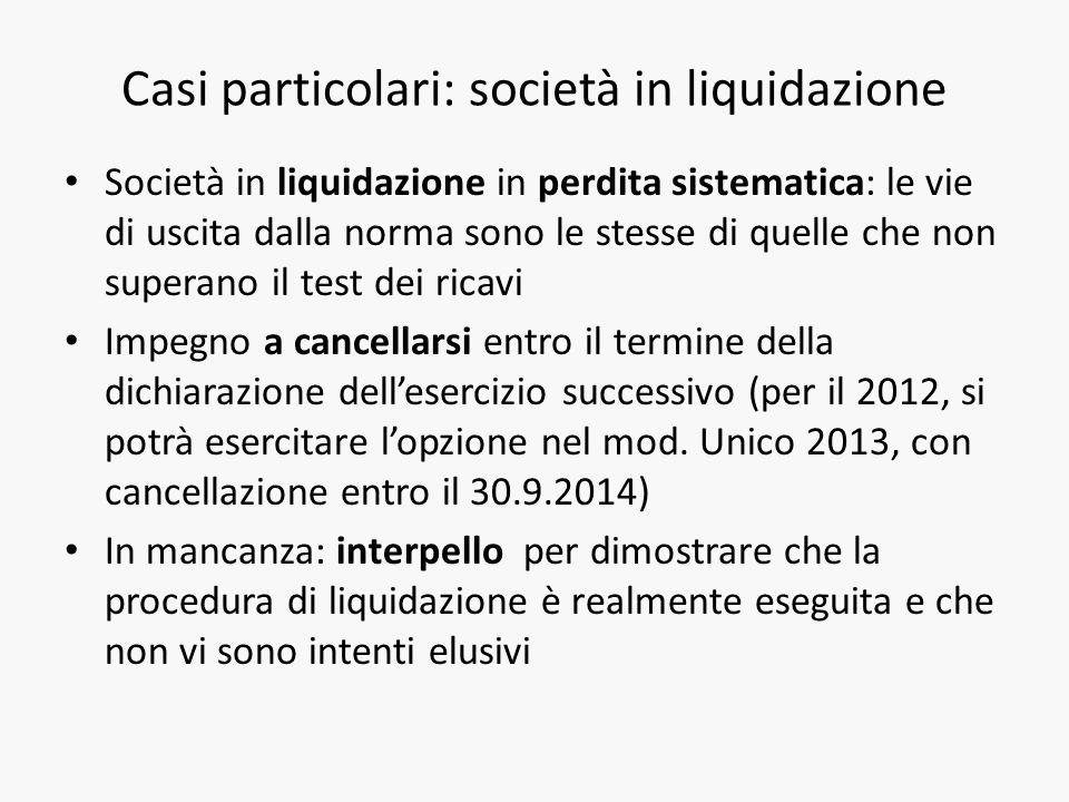 Casi particolari: società in liquidazione Società in liquidazione in perdita sistematica: le vie di uscita dalla norma sono le stesse di quelle che no
