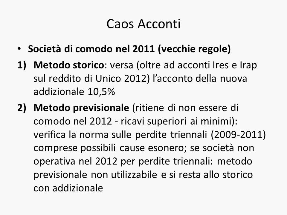 Caos Acconti Società di comodo nel 2011 (vecchie regole) 1)Metodo storico: versa (oltre ad acconti Ires e Irap sul reddito di Unico 2012) lacconto del