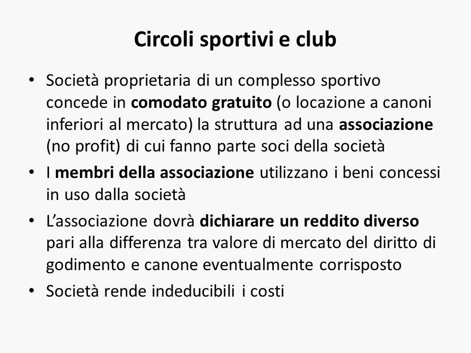 Circoli sportivi e club Società proprietaria di un complesso sportivo concede in comodato gratuito (o locazione a canoni inferiori al mercato) la stru