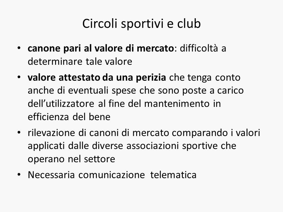 Circoli sportivi e club canone pari al valore di mercato: difficoltà a determinare tale valore valore attestato da una perizia che tenga conto anche d