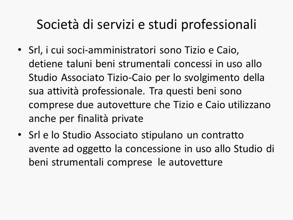 Società di servizi e studi professionali Srl, i cui soci-amministratori sono Tizio e Caio, detiene taluni beni strumentali concessi in uso allo Studio Associato Tizio-Caio per lo svolgimento della sua attività professionale.