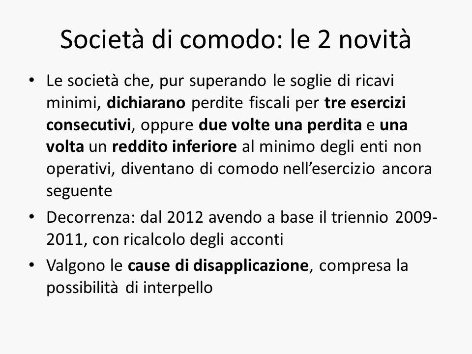 Società di comodo: le 2 novità Le società che, pur superando le soglie di ricavi minimi, dichiarano perdite fiscali per tre esercizi consecutivi, oppu