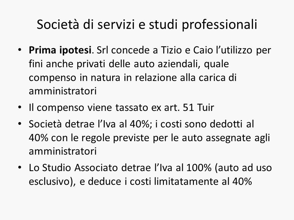 Società di servizi e studi professionali Prima ipotesi.