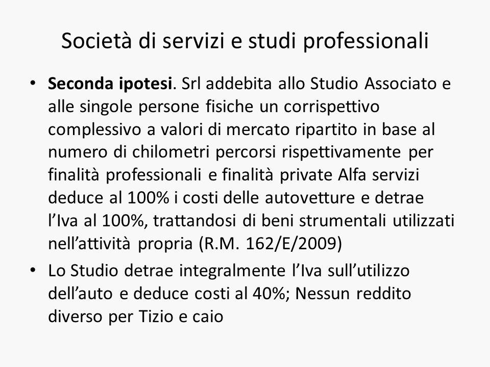 Società di servizi e studi professionali Seconda ipotesi.