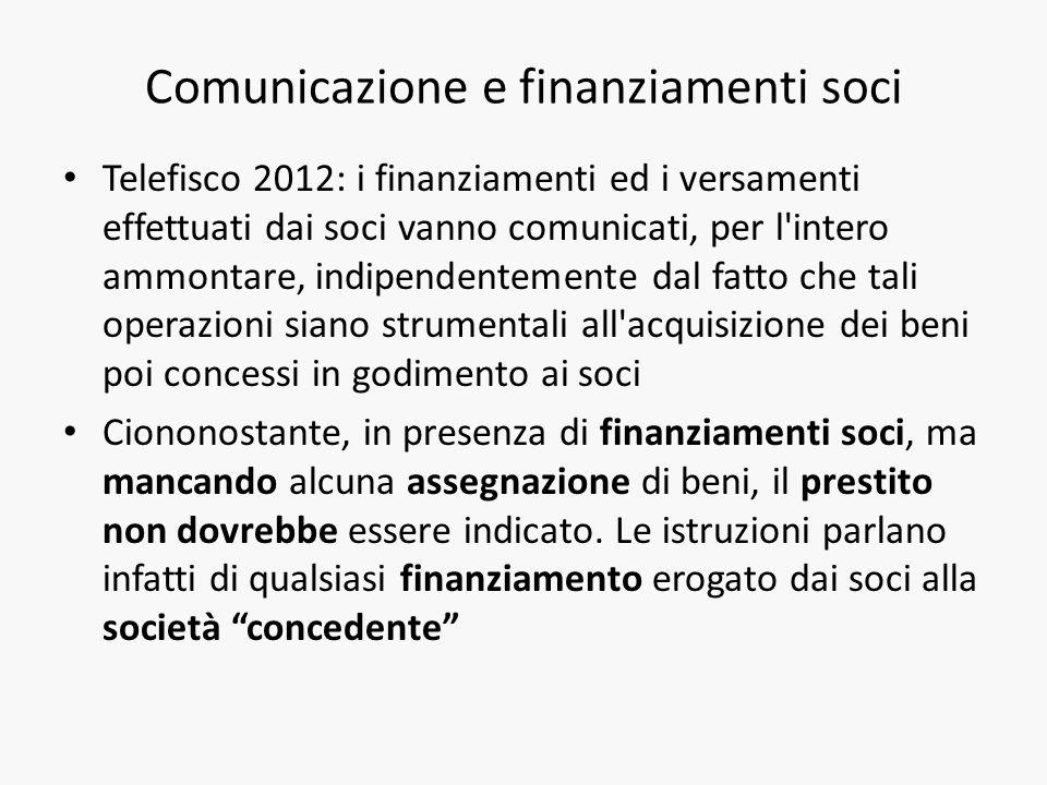 Comunicazione e finanziamenti soci Telefisco 2012: i finanziamenti ed i versamenti effettuati dai soci vanno comunicati, per l'intero ammontare, indip