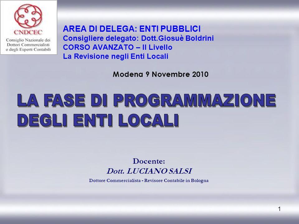 1 Docente: Dott. LUCIANO SALSI Dottore Commercialista - Revisore Contabile in Bologna AREA DI DELEGA: ENTI PUBBLICI Consigliere delegato: Dott.Giosuè