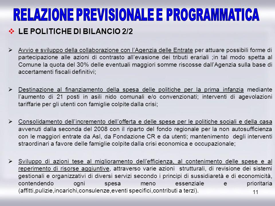 11 LE POLITICHE DI BILANCIO 2/2 Avvio e sviluppo della collaborazione con lAgenzia delle Entrate per attuare possibili forme di partecipazione alle az
