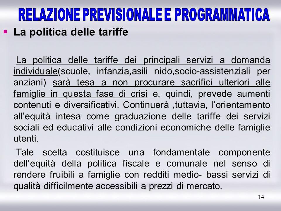 14 La politica delle tariffe La politica delle tariffe dei principali servizi a domanda individuale(scuole, infanzia,asili nido,socio-assistenziali pe