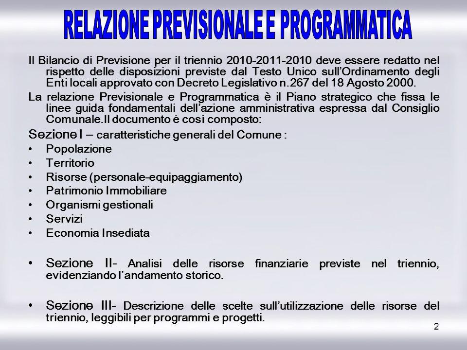 2 Il Bilancio di Previsione per il triennio 2010-2011-2010 deve essere redatto nel rispetto delle disposizioni previste dal Testo Unico sullOrdinament