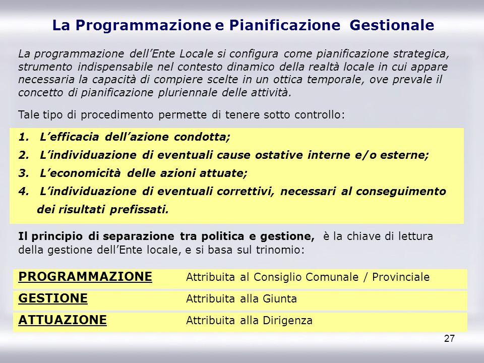 27 La Programmazione e Pianificazione Gestionale La programmazione dellEnte Locale si configura come pianificazione strategica, strumento indispensabi