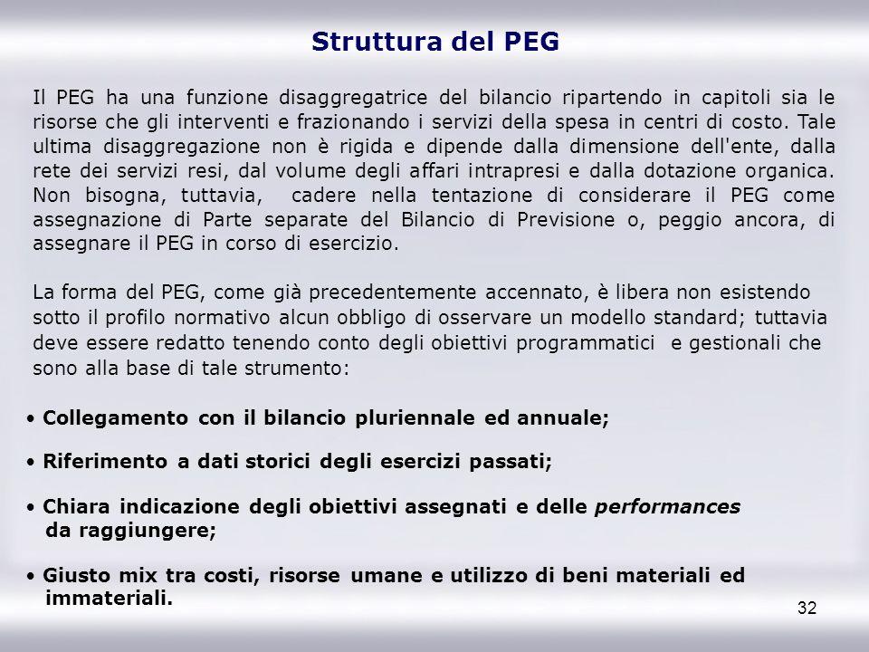 32 Il PEG ha una funzione disaggregatrice del bilancio ripartendo in capitoli sia le risorse che gli interventi e frazionando i servizi della spesa in