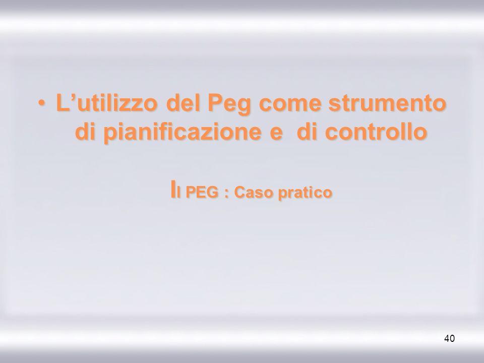 40 Lutilizzo del Peg come strumento di pianificazione e di controllo I l PEG : Caso praticoLutilizzo del Peg come strumento di pianificazione e di con
