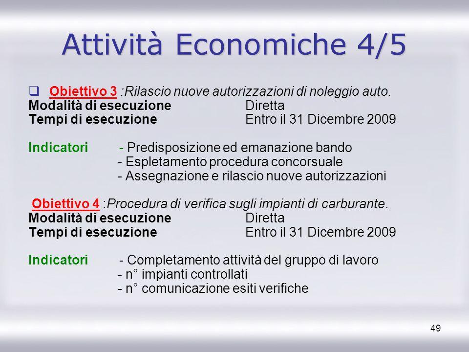 49 Attività Economiche 4/5 Obiettivo 3 :Rilascio nuove autorizzazioni di noleggio auto. Modalità di esecuzione Diretta Tempi di esecuzione Entro il 31