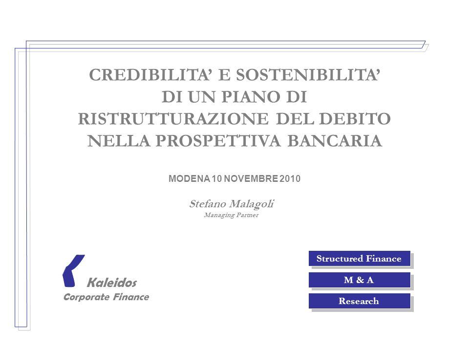 Structured Finance M & A Research Kaleidos Corporate Finance K CREDIBILITA E SOSTENIBILITA DI UN PIANO DI RISTRUTTURAZIONE DEL DEBITO NELLA PROSPETTIV