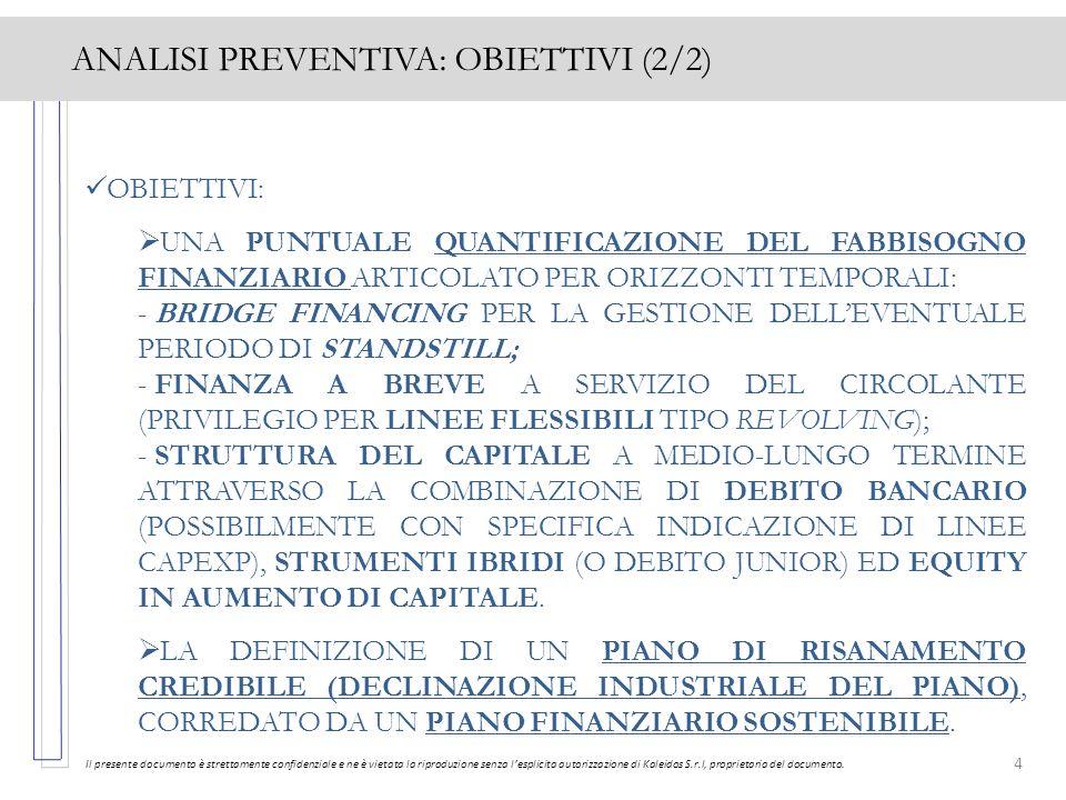 4 ANALISI PREVENTIVA: OBIETTIVI (2/2) Il presente documento è strettamente confidenziale e ne è vietata la riproduzione senza lesplicita autorizzazion