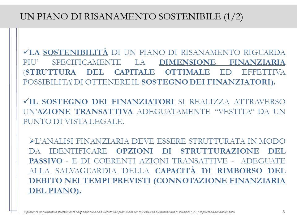 8 UN PIANO DI RISANAMENTO SOSTENIBILE (1/2) Il presente documento è strettamente confidenziale e ne è vietata la riproduzione senza lesplicita autoriz