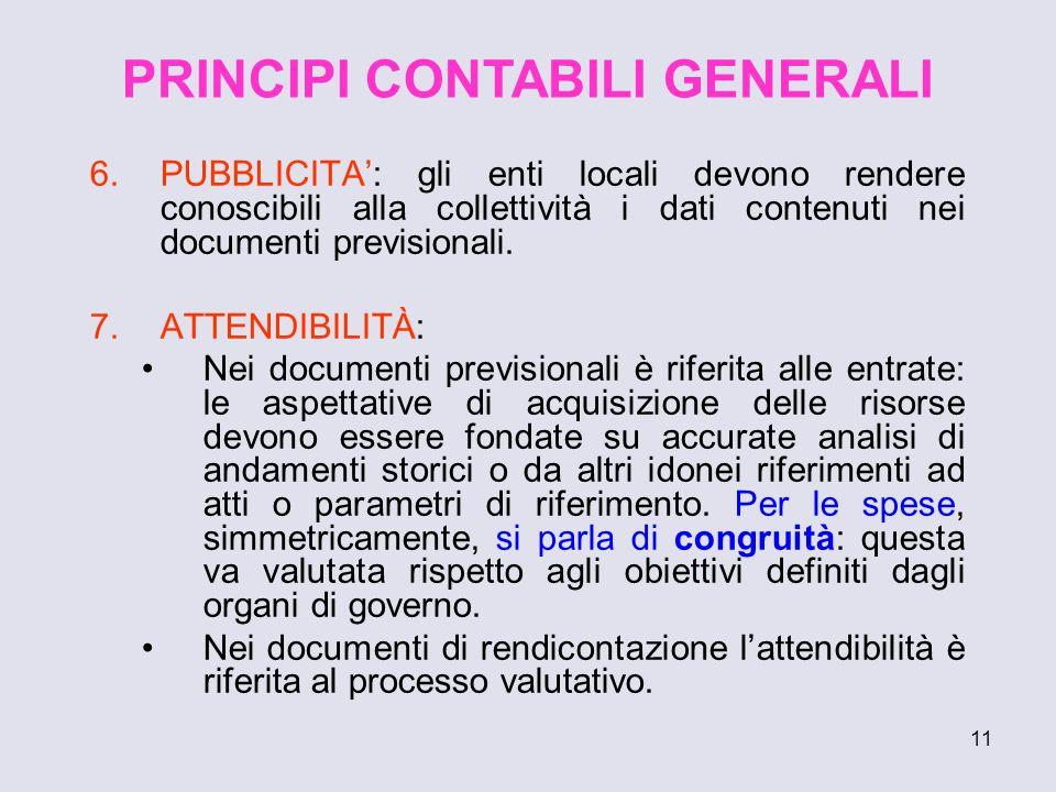 11 6.PUBBLICITA: gli enti locali devono rendere conoscibili alla collettività i dati contenuti nei documenti previsionali. 7.ATTENDIBILITÀ: Nei docume