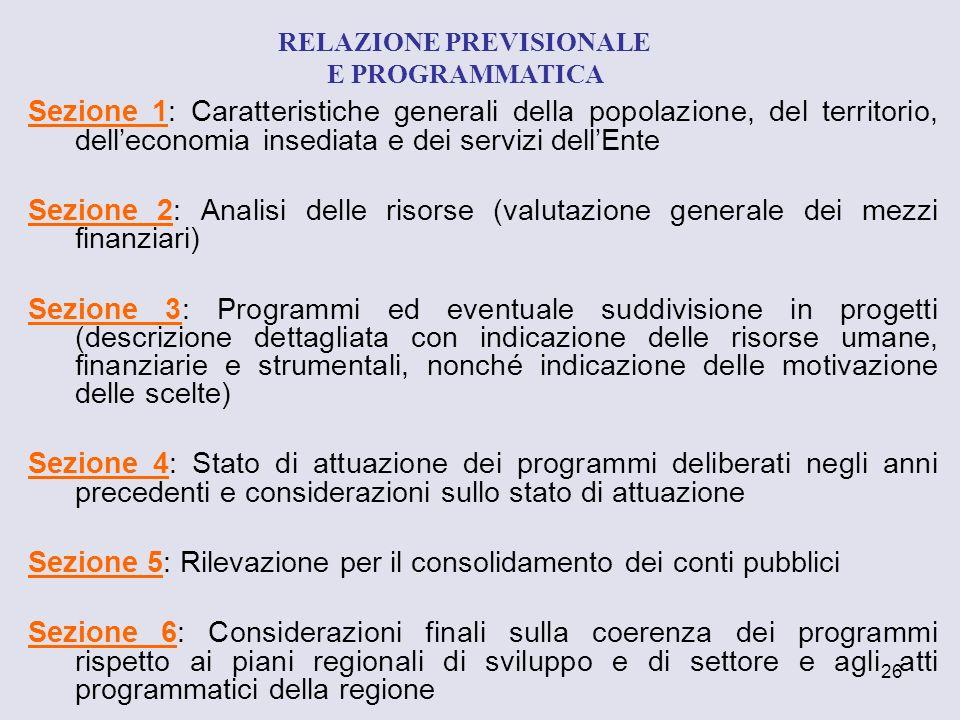 26 Sezione 1: Caratteristiche generali della popolazione, del territorio, delleconomia insediata e dei servizi dellEnte Sezione 2: Analisi delle risor