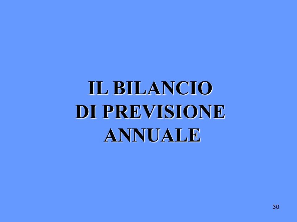 30 IL BILANCIO DI PREVISIONE ANNUALE