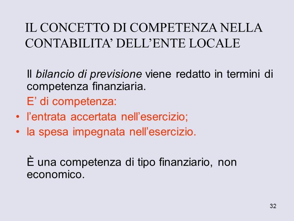 32 Il bilancio di previsione viene redatto in termini di competenza finanziaria. E di competenza: lentrata accertata nellesercizio; la spesa impegnata