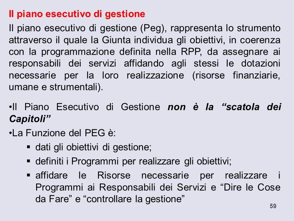 59 Il piano esecutivo di gestione Il piano esecutivo di gestione (Peg), rappresenta lo strumento attraverso il quale la Giunta individua gli obiettivi