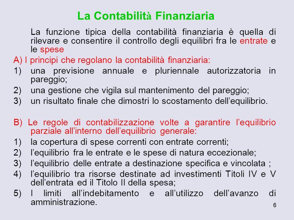 6 La Contabilit à Finanziaria La funzione tipica della contabilità finanziaria è quella di rilevare e consentire il controllo degli equilibri fra le e