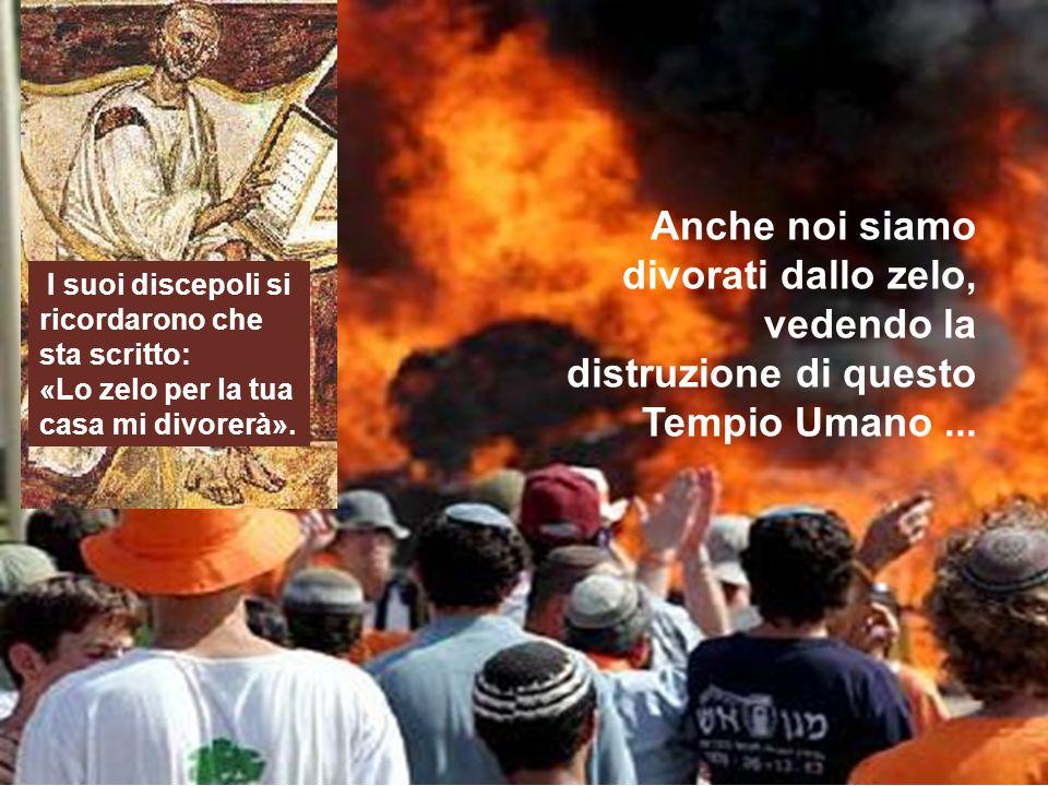 Anche noi siamo divorati dallo zelo, vedendo la distruzione di questo Tempio Umano... I suoi discepoli si ricordarono che sta scritto: «Lo zelo per la