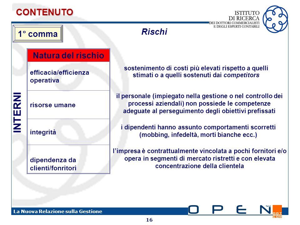 16 La Nuova Relazione sulla Gestione sostenimento di costi più elevati rispetto a quelli stimati o a quelli sostenuti dai competitors Natura del risch