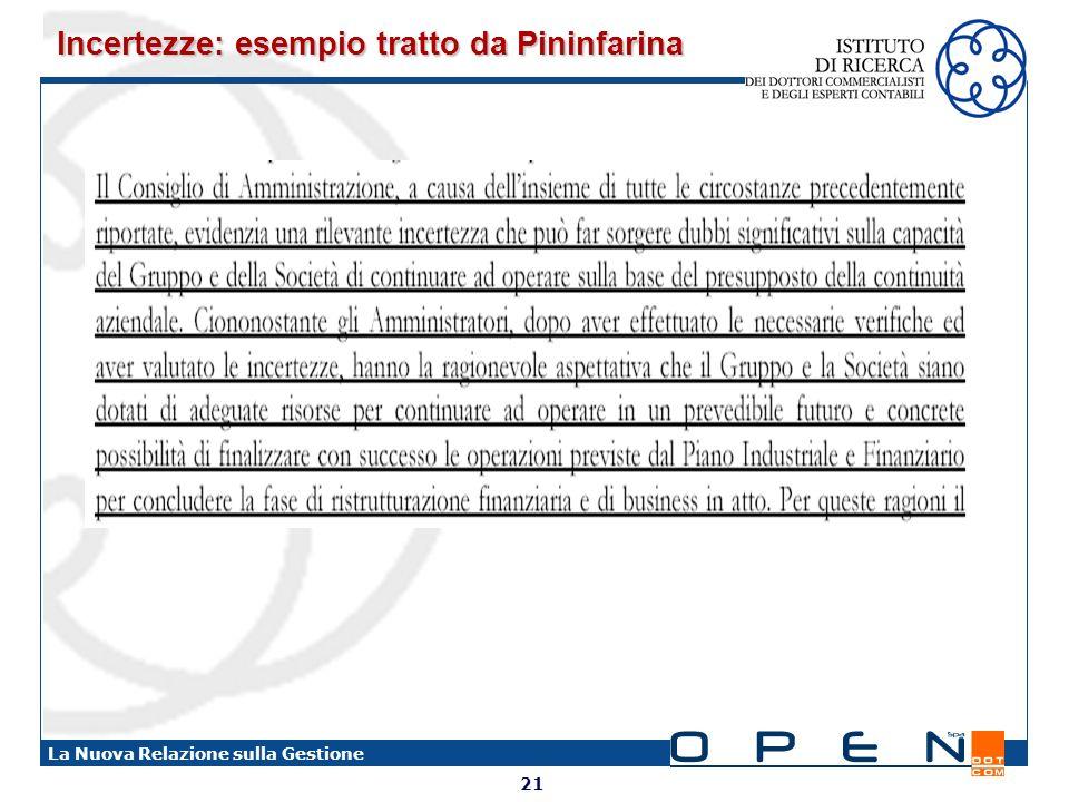 21 La Nuova Relazione sulla Gestione Incertezze: esempio tratto da Pininfarina