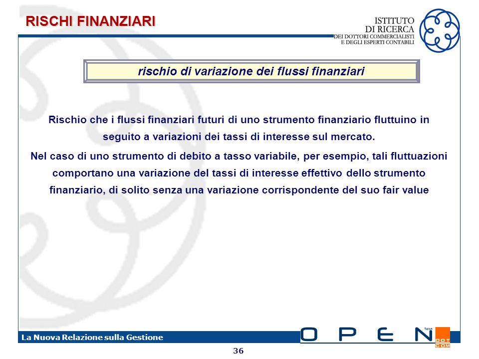 36 La Nuova Relazione sulla Gestione rischio di variazione dei flussi finanziari Rischio che i flussi finanziari futuri di uno strumento finanziario f