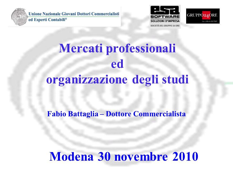 Mercati professionali ed organizzazione degli studi Fabio Battaglia – Dottore Commercialista Modena 30 novembre 2010