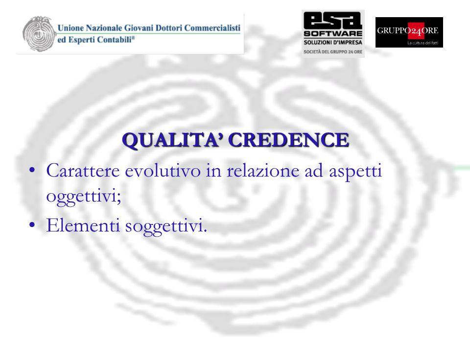 QUALITA CREDENCE Carattere evolutivo in relazione ad aspetti oggettivi; Elementi soggettivi.
