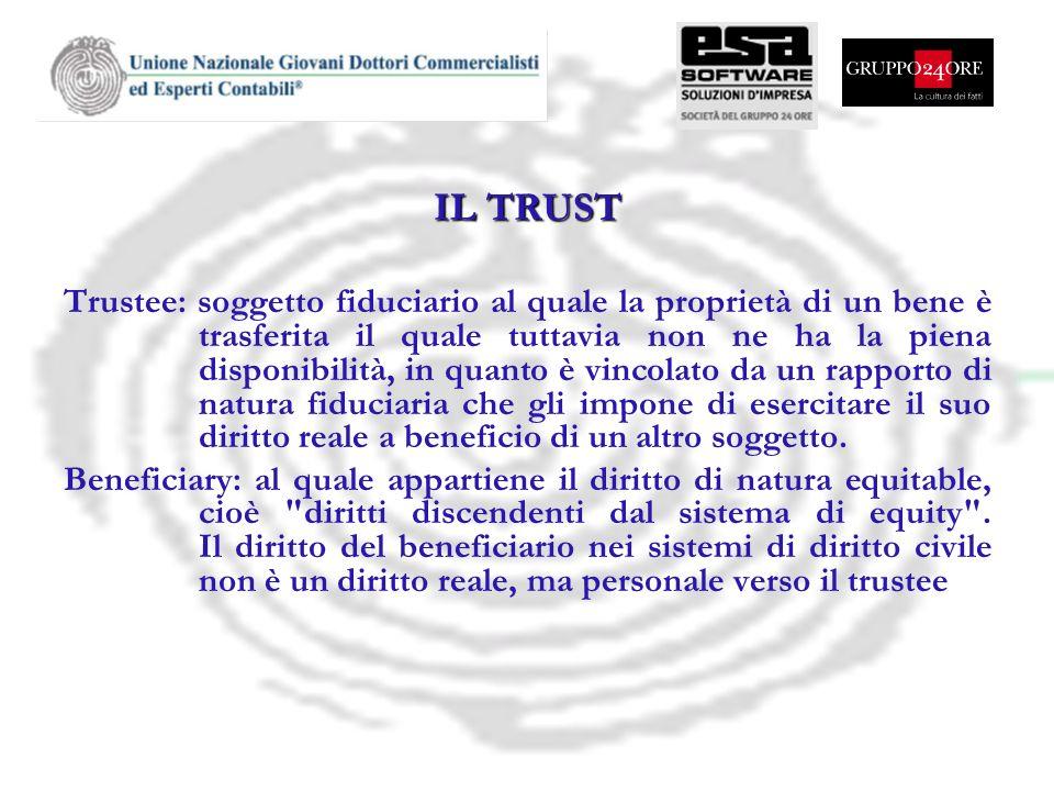 IL TRUST Trustee: soggetto fiduciario al quale la proprietà di un bene è trasferita il quale tuttavia non ne ha la piena disponibilità, in quanto è vi