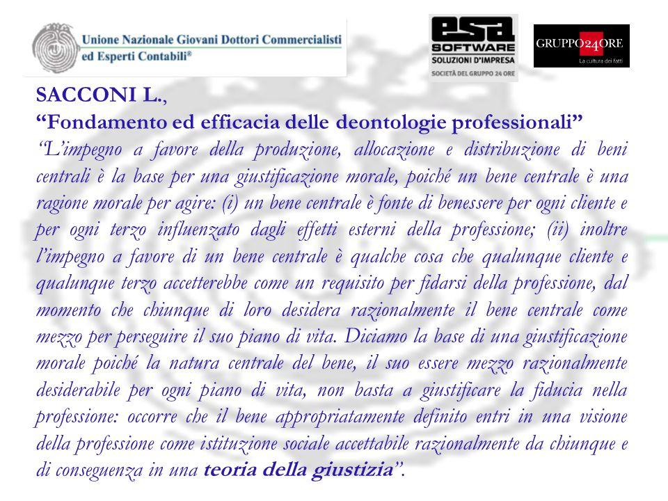 SACCONI L., Fondamento ed efficacia delle deontologie professionali L impegno a favore della produzione, allocazione e distribuzione di beni centrali