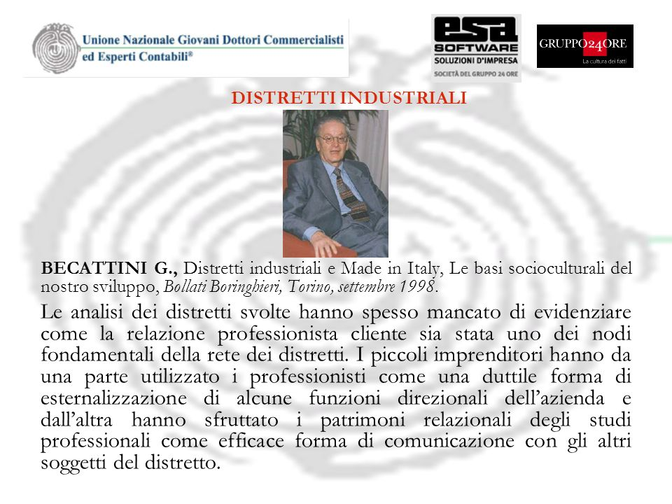 BECATTINI G., Distretti industriali e Made in Italy, Le basi socioculturali del nostro sviluppo, Bollati Boringhieri, Torino, settembre 1998. Le anali