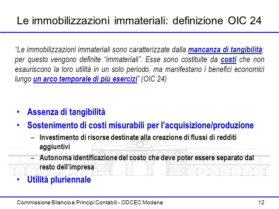 Commissione Bilancio e Principi Contabili - ODCEC Modena 12 Le immobilizzazioni immateriali: definizione OIC 24 Assenza di tangibilità Sostenimento di