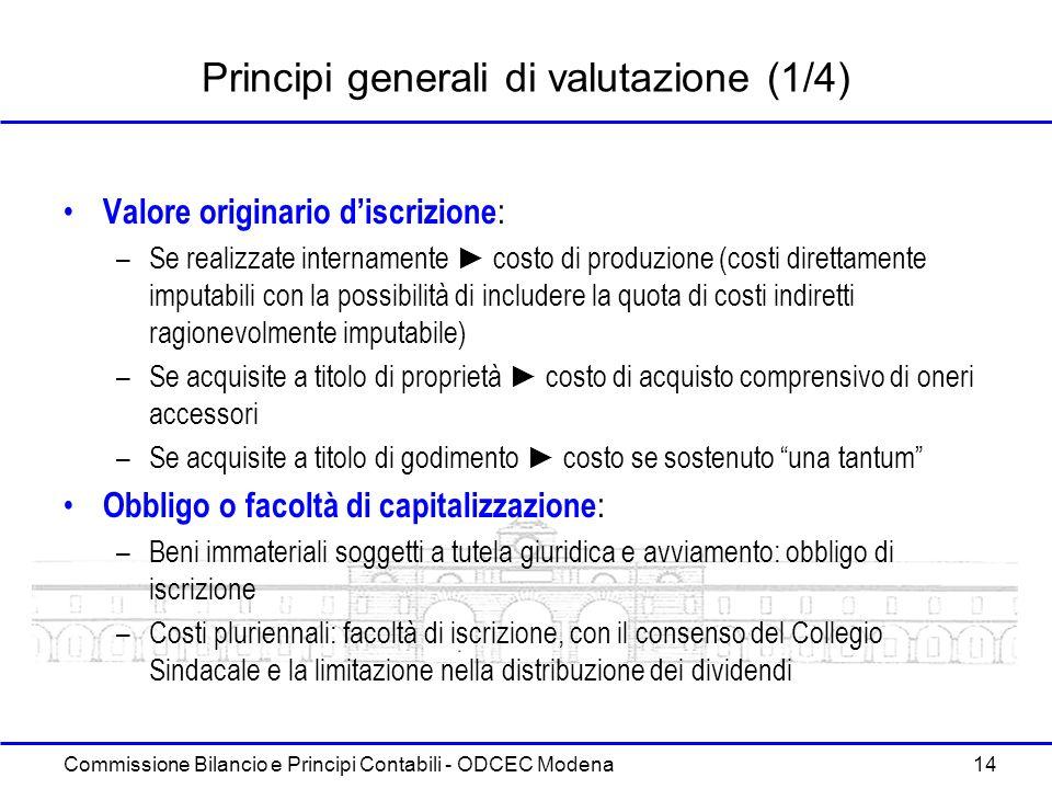 Commissione Bilancio e Principi Contabili - ODCEC Modena 14 Principi generali di valutazione (1/4) Valore originario discrizione : –Se realizzate inte