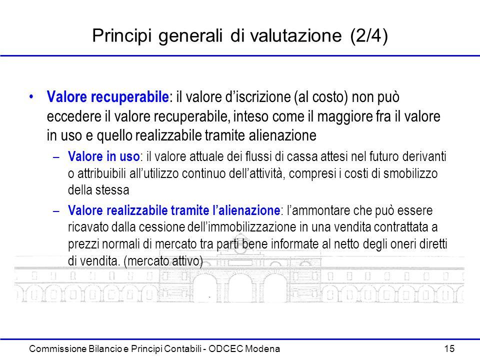 Commissione Bilancio e Principi Contabili - ODCEC Modena 15 Principi generali di valutazione (2/4) Valore recuperabile : il valore discrizione (al cos