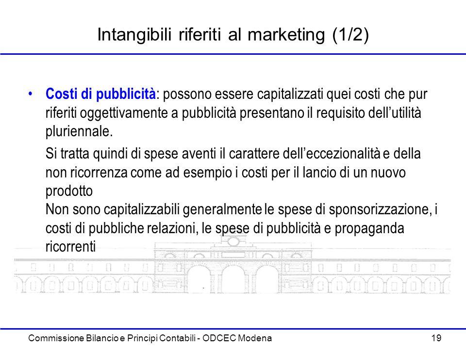 Commissione Bilancio e Principi Contabili - ODCEC Modena 19 Intangibili riferiti al marketing (1/2) Costi di pubblicità : possono essere capitalizzati
