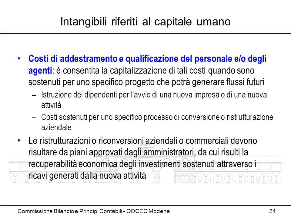 Commissione Bilancio e Principi Contabili - ODCEC Modena 24 Intangibili riferiti al capitale umano Costi di addestramento e qualificazione del persona