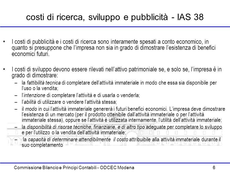 Commissione Bilancio e Principi Contabili - ODCEC Modena 6 costi di ricerca, sviluppo e pubblicità - IAS 38 I costi di pubblicità e i costi di ricerca