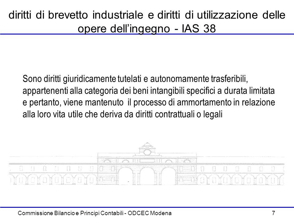 Commissione Bilancio e Principi Contabili - ODCEC Modena 7 diritti di brevetto industriale e diritti di utilizzazione delle opere dellingegno - IAS 38