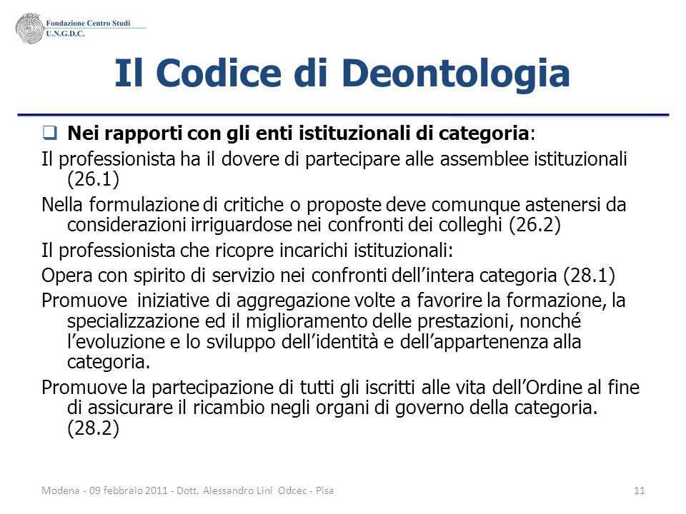 Modena - 09 febbraio 2011 - Dott. Alessandro Lini Odcec - Pisa11 Il Codice di Deontologia Nei rapporti con gli enti istituzionali di categoria: Il pro