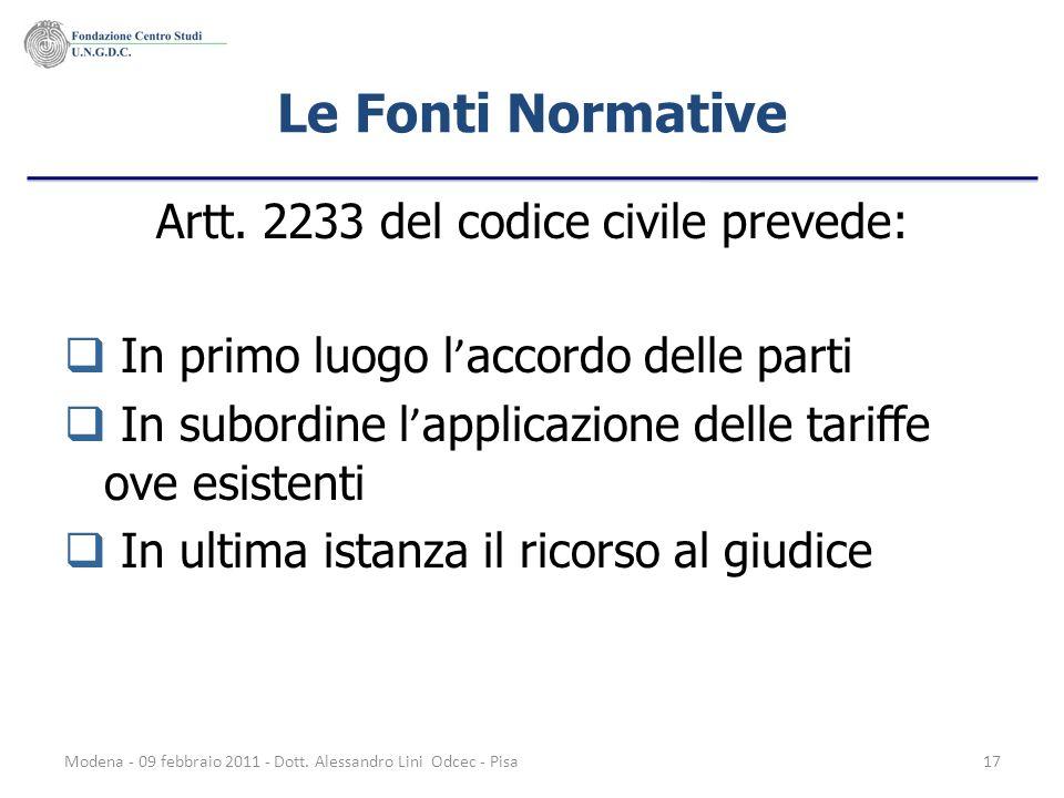Modena - 09 febbraio 2011 - Dott. Alessandro Lini Odcec - Pisa17 Le Fonti Normative Artt. 2233 del codice civile prevede: In primo luogo l accordo del